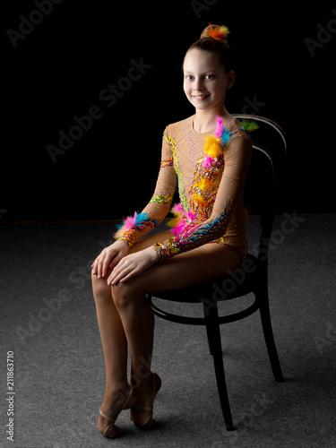 Aluminium Fitness Girl gymnast on a black background