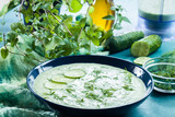 Cold cucumber soup with cucumber, dill and mint - 211870583