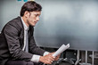 businessman working in office. Exhausted and serious for business problem.