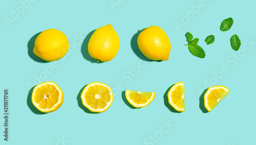 Fresh lemon pattern on a bright color background flat lay - 211871760