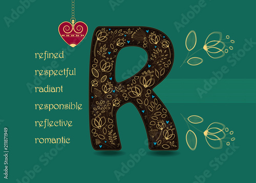 Name day greeting card with flowers and letter r buy photos ap name day greeting card with flowers and letter r m4hsunfo