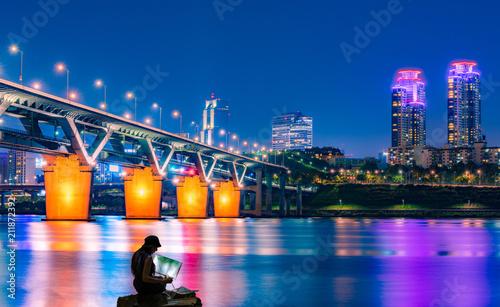 Han River and Cheongdam Bridge in Seoul, South Korea.