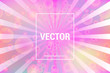 Vector colorful background with bokeh circles and rays in trendy colors.