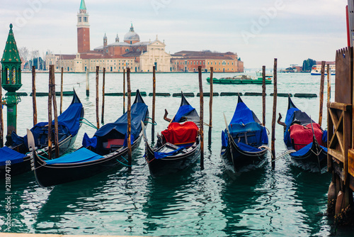 Gondolas moored by Saint Mark square - 211874718