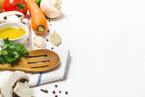 Food cooking background. Fresh vegetables, spices and mushrooms on  white background - 211879754