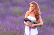 Beautiful woman in the lavender field