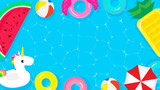 Pool Party frame background vector illustration. Top view of swimming pool with cute pool floats. - 211881729