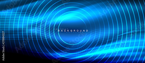 Poster Neon glowing lines, magic energy space light concept, abstract background wallpaper design