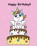 birthday card. Unicorn on top of a cake