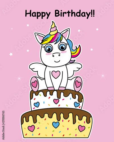 birthday card. Unicorn on top of a cake - 211886763