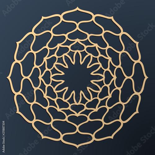 Cięcie laserowe. Złoty kwiatowy wzór. Orientalny ornament sylwetka. Konstrukcja wektorowa coaster.