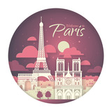 France. Paris with the symbols of the city - Eiffel Tower, Triumphal Arch, Notre Dame Cathedral. Papercut style poster.