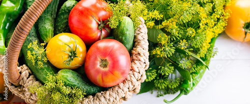 Vegetables In Basket On The White Background Yellow Tomatoes Pepper Cucumbers Dill Banner - 211889120