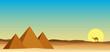 egypt landscape desert with pyramid
