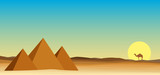 egypt landscape desert with pyramid  - 211891121