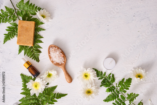 Fotobehang Spa Handmade soap in white background with space. Spa concept