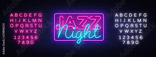Jazz Night neon sign vector. Jazz Music design template neon sign, light banner, neon signboard, nightly bright advertising. Vector illustration. Editing text neon sign