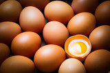 Chicken eggs and egg yolk,top view. - 211898149
