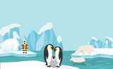 Animals and people of North pole Arctic landscape background - 211898984