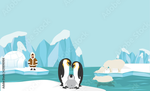 Fotobehang Lichtblauw Animals and people of North pole Arctic landscape background