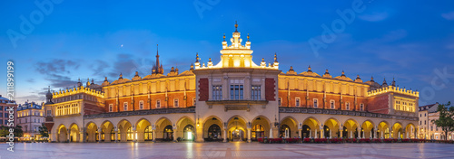 Aluminium Krakau Sukiennice by night,Main Market Square,Krakow, Poland