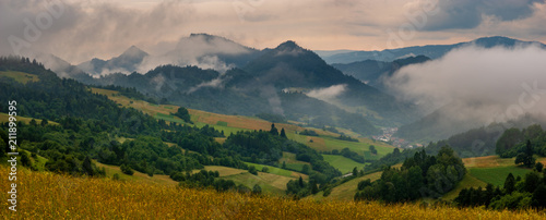 Mountains steaming after the evening storm, Pieniny Mountains, Slovakia