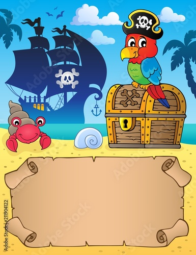 Fotobehang Voor kinderen Small parchment with pirate parrot