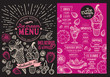 Ice cream restaurant menu. Pink dessert food flyer for bar and cafe. Design template with vintage hand-drawn illustrations.