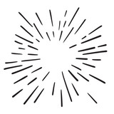 Vintage Hand Drawn Design Element Fireworks Black Rays - 211905300
