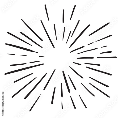 Vintage Hand Drawn Design Element Fireworks Black Rays - 211905308