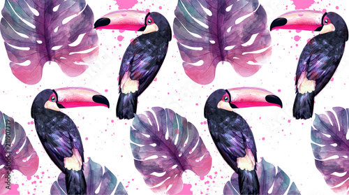 Tropical paradise with watercolor parrots and palm leaves background Vector. ultra violet trendy colors - 211907719