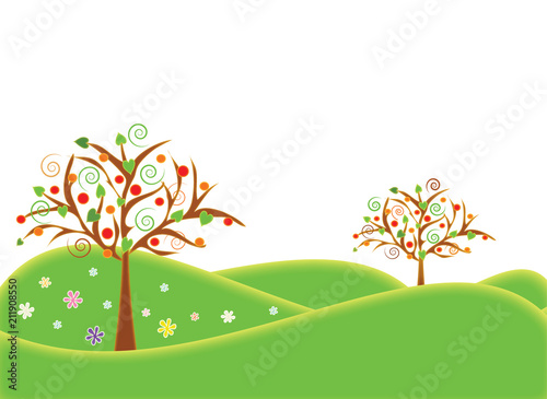 Background illustrations summer season with fruit trees in the landscape. Format vector and jpg. - 211908550