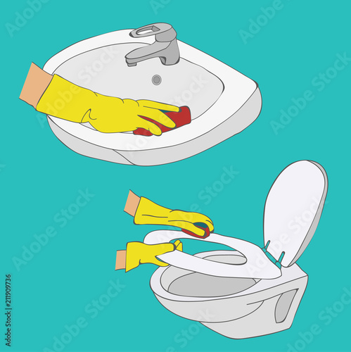 vector, cleaning, toilet and wash basin wash - 211909736