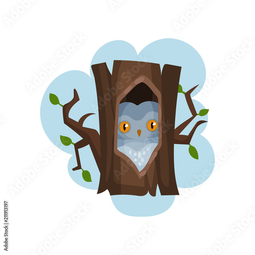 Fotobehang Uilen cartoon Owl sitting in hollow of tree, hollowed out old tree and bird inside vector Illustration on a white background