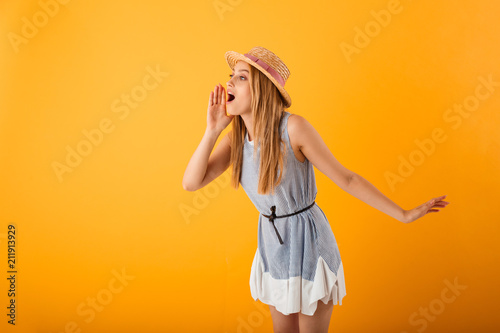 Portrait of a cheerful young blonde woman - 211913929