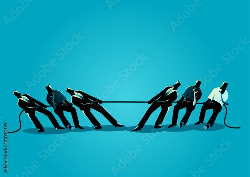Businessmen teamwork in tug of war