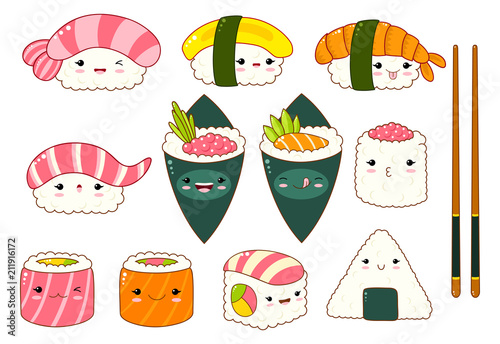 Set of cute sushi and rolls icons in kawaii style - 211916172
