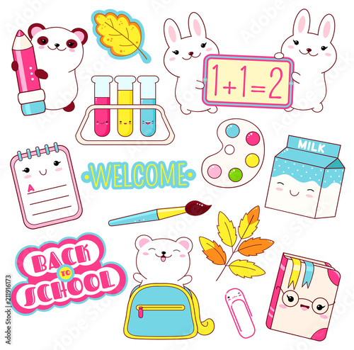 Vector set of education icons in kawaii style - 211916173