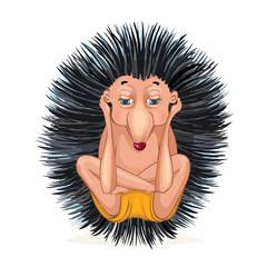 Hedgehog doing yoga. Vector cartoon illustration isolated on white. © marinaeisymont
