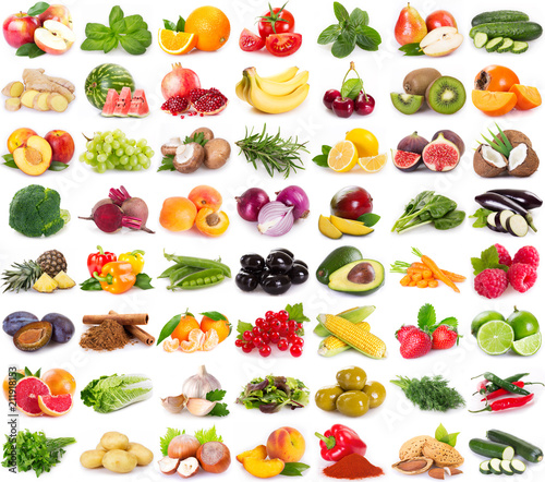 Collection of fresh fruits and vegetables - 211918153