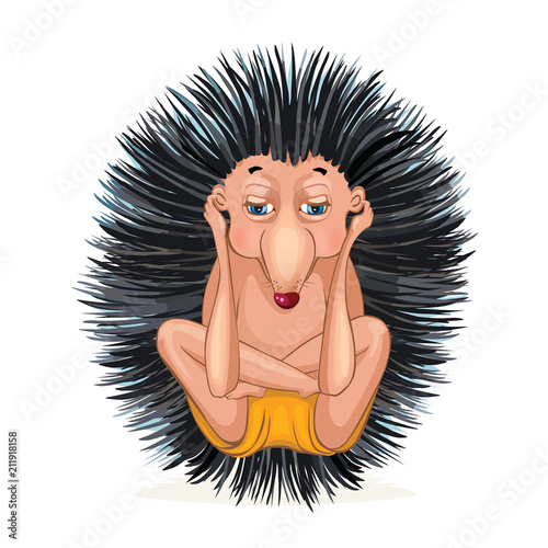 Hedgehog doing yoga. Vector cartoon illustration isolated on white.