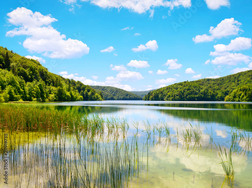 Leinwanddruck Bild Beautiful landscape in the Plitvice Lakes National Park, Croatia.