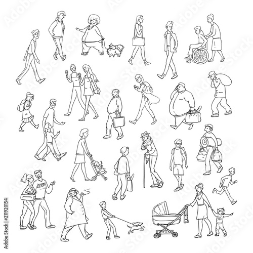 vector sketch people walk down street children and adults