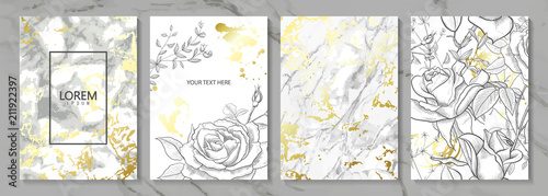 Luxury cards collection with marble golden texture and hand-drawn flowers.Vector trendy background. Modern set of abstract card, template,posters,invitational - 211922397