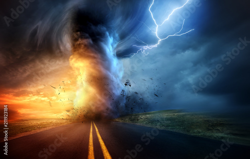 A dramatic storm at sunset producing a powerful tornado twisting through the countryside with sheet lightning. Landscape mixed media illustration.