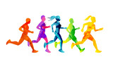 A group of running men and women competing and staying fit. Colourful texture people silhouettes. Vector illustration. - 211923327