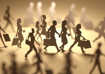 A group of people shopping and carrying retail bags, paper people silhouettes. 3D illustration.