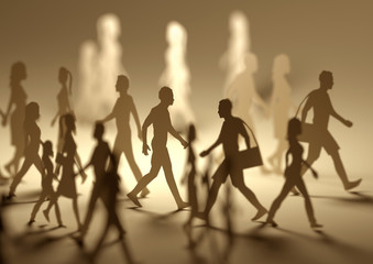 A crowd of busy people walking on a busy street made out of paper silhouettes. 3D illustration.
