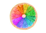 Rainbow colored citrus slice isolated on white background © Delphotostock