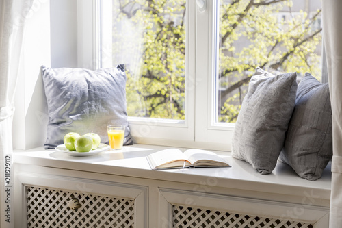 Grey cushions, book, apples and orange juice on window sill in white interior. Real photo - 211929112